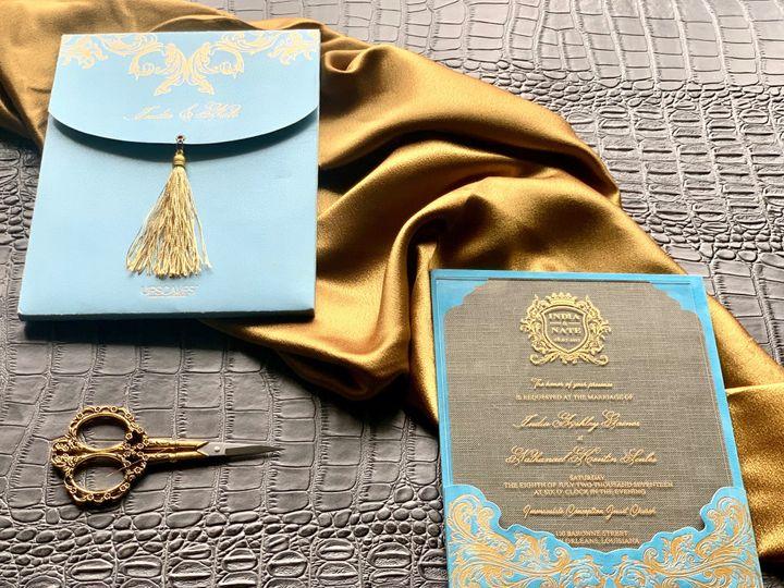 Tmx Blue And Gold 3 51 1940039 158268391313098 Slidell, LA wedding invitation