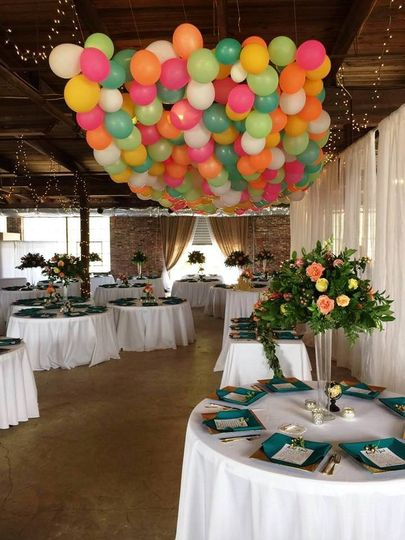 Wedding reception with balloons