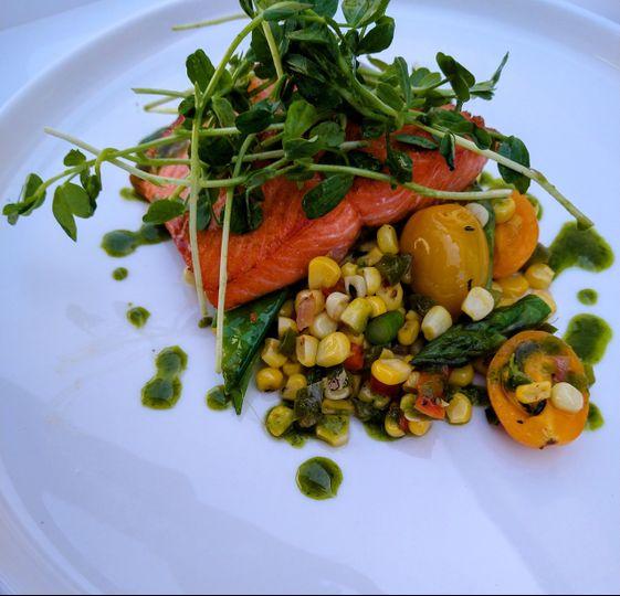 Poached salmon, corn succotash