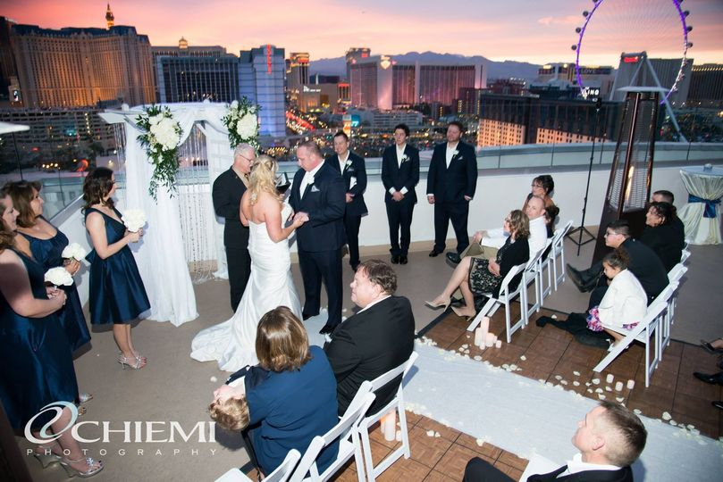 Wedding with a city view