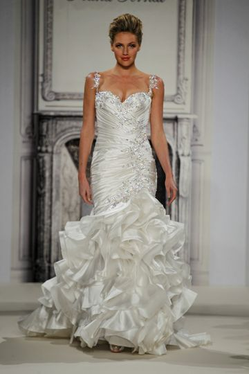 Style # 32813800 This mermaid gown features a sweetheart neckline with a dropped waist in silk...