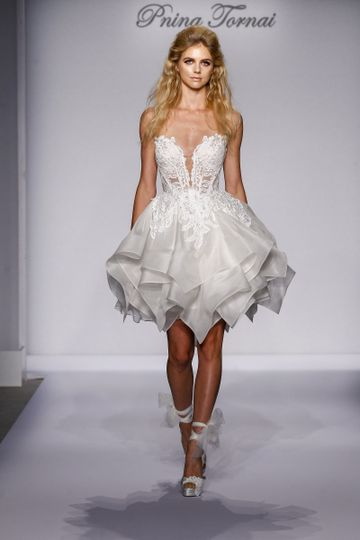 Pnina Tornai Style 4464  Ivory sweetheart strapless lace bodice with short organza layered...