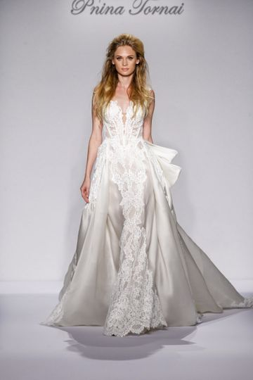 Pnina Tornai Style 4443  Ivory satin organza ball gown with natural waist, cap sleeves, lace...