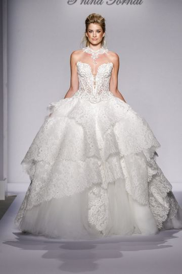 Pnina Tornai Style 4459  Ivory strapless lace and tulle ball gown with corset back and...