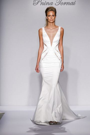 Pnina Tornai Style 4442  Ivory satin mermaid with cut-out details and illusion back with...