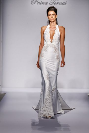 Pnina Tornai Style 4457  Ivory Chantilly lace fit-and-flare with deep v-neck halter, low back,...