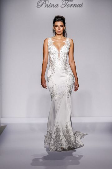 Pnina Tornai Style 4451  Ivory crepe satin fit-and-flare with Guipure embroidered lace with...