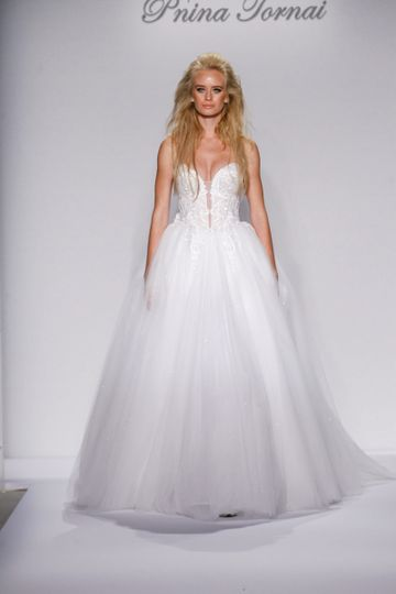 Pnina Tornai Style 4438  Blush strapless ball gown with water crystal stones beaded bodice,...