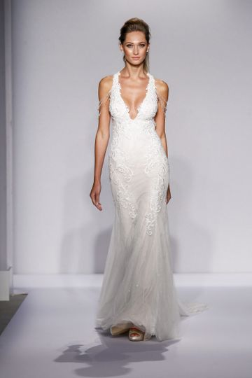 Pnina Tornai Style 4436  Ivory Chantilly lace fit-and-flare with deep v-neck halter, low back,...