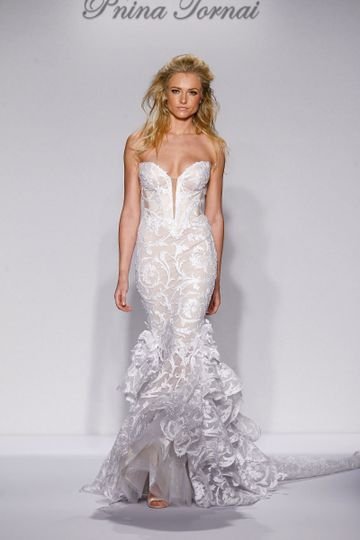 117553d709 Pnina Tornai Style 4450 Ivory tulle mermaid with sequined lace appliques,  ruffled skirt and.