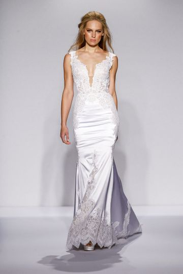Pnina Tornai Style 4437  Ivory satin mermaid with deep v-neck, low back and lace appliques on...