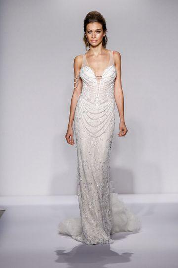 Pnina Tornai Style 4448  Blush beaded Chantilly lace sheath with draped Swarovski crystals and...