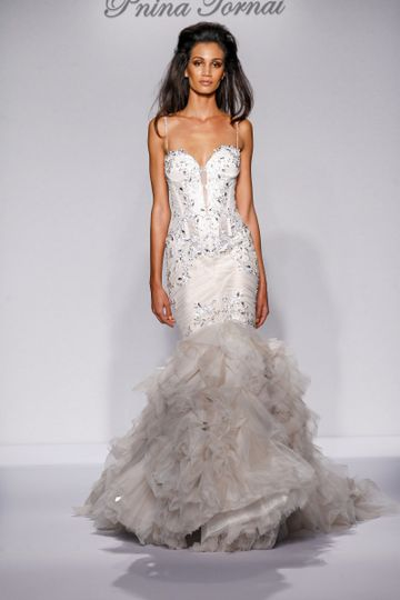 Pnina Tornai Style 4458  Ivory tulle mermaid with sweetheart neckline, ruched bodice with...
