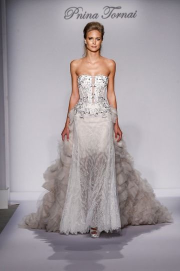 Pnina Tornai Style 4463  Ivory Chantilly lace fit-and-flare with Swarovski crystal beaded...