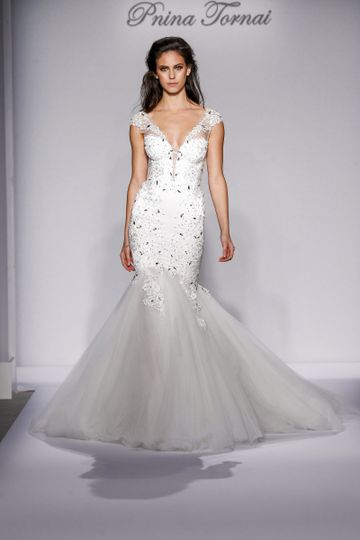 Pnina Tornai Style 4455  Ivory satin and tulle mermaid with Guipure lace appliques, lace straps...