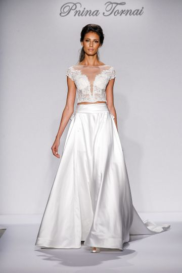 Pnina Tornai Style 4468  Ivory tulle and lace capped sleeve ball gown with pearl and Swarovski...