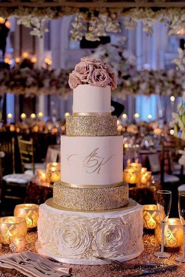 Sparkle gold tier cake