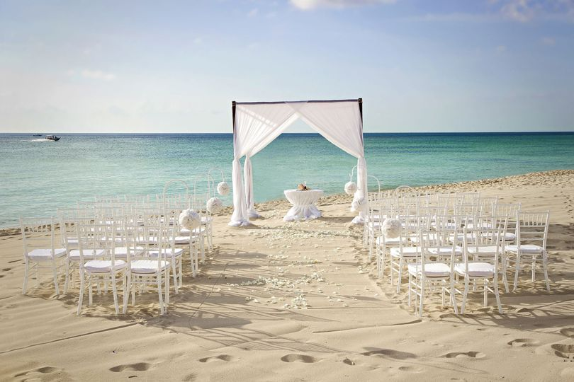 White ceremony setup