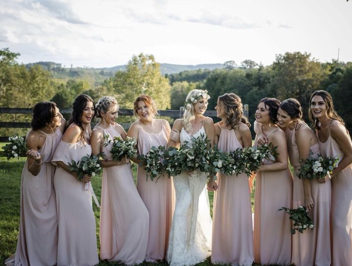 Bride with attendants