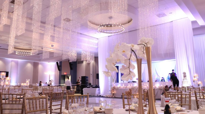 Crystal ceiling decor with draping