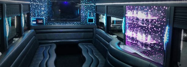 22 passenger limo bus interior and lighting