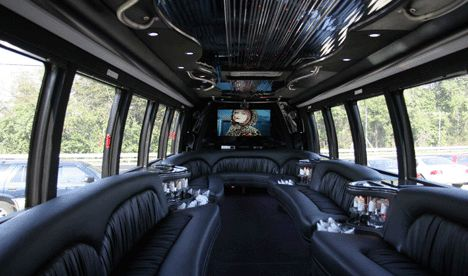 30 passenger limo bus interiors and entertainment