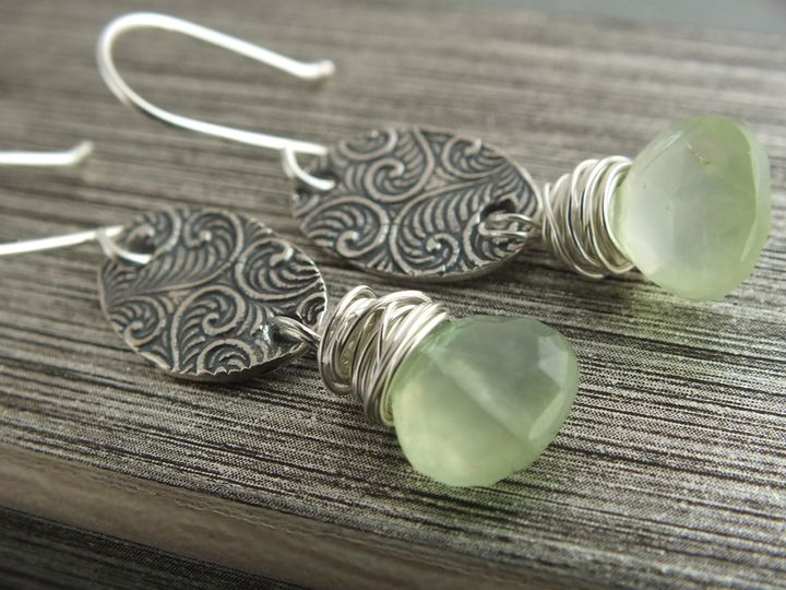 Prehnite wrapped stamped oval dangle .925 earrings
