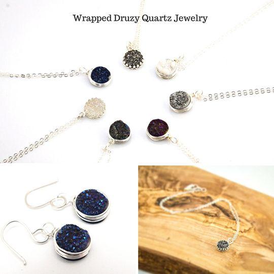 wrapped druzy quartz jewelry