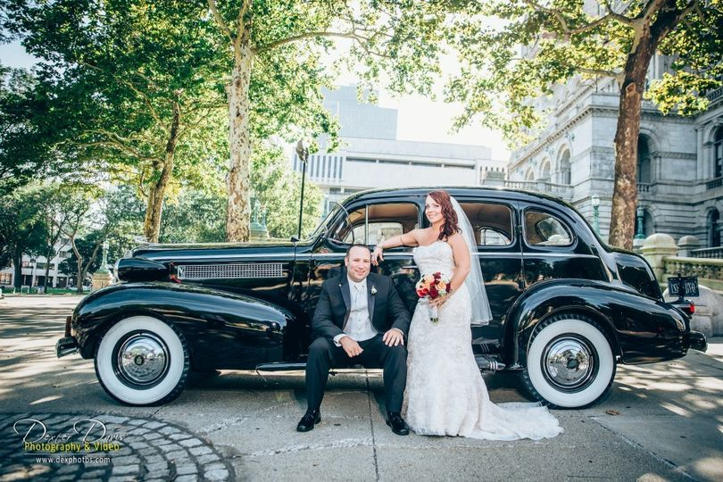 Newlyweds with the ride