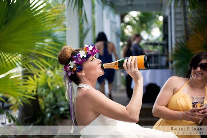 Bride taking a swig