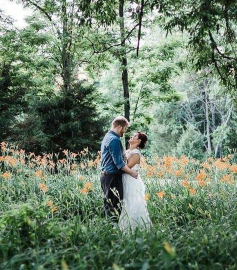 Newlyweds by the woods