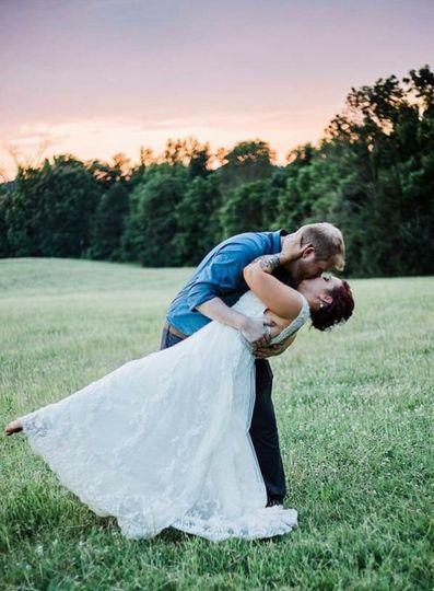 Newlyweds share a kiss