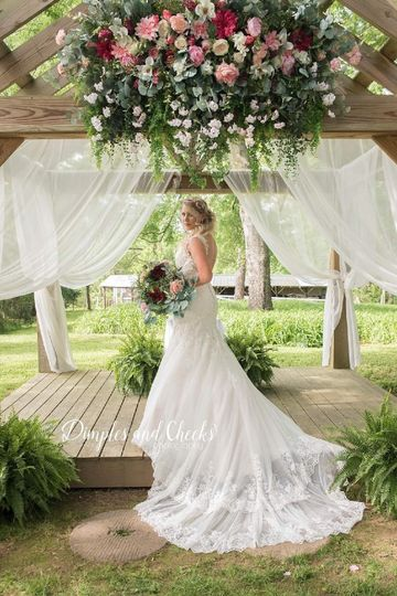 Bride in Ceremony Garden