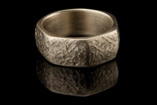 Man's Textured Grid Wedding Band in White Gold.  This product is found in my Manlier Collection at...