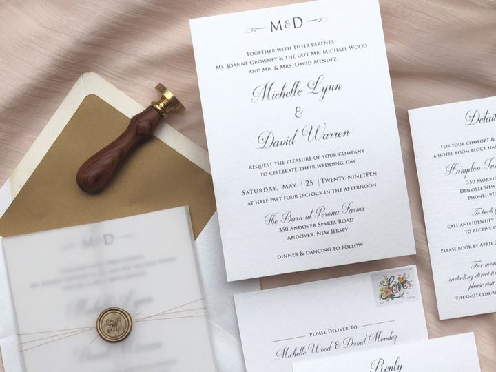Tmx Modern Rustic Wedding Wax Seal Vellum Gate Fold 51 919139 157910215719237 Jersey City, NJ wedding invitation