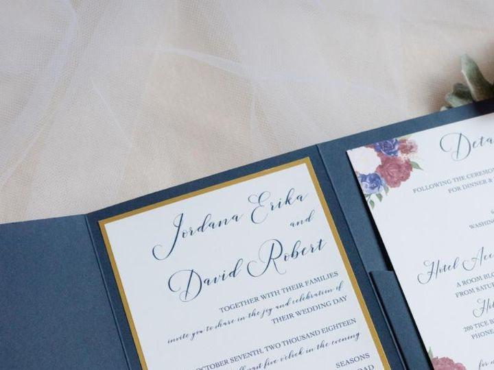 Tmx Navy Floral Wedding Invitation 1 51 919139 157910217238028 Jersey City, NJ wedding invitation