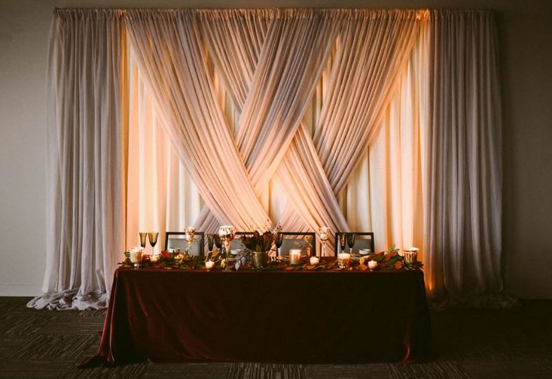 Head table with backdrop