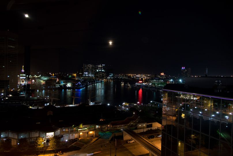 Harbor view at night