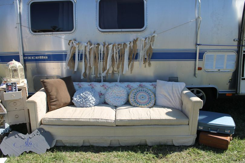 Airstream Bridal Suite or Photo Booth with furniture and prop rentals available.