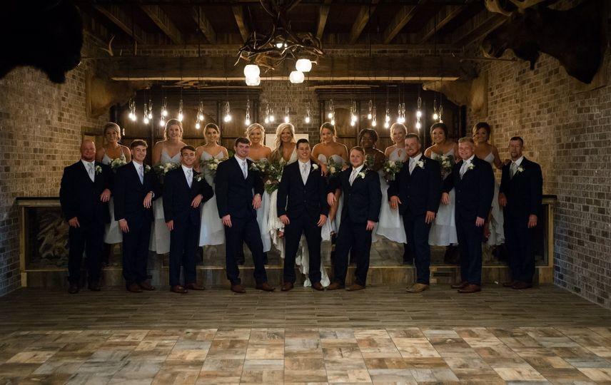 Bride & Groom w/ wedding party