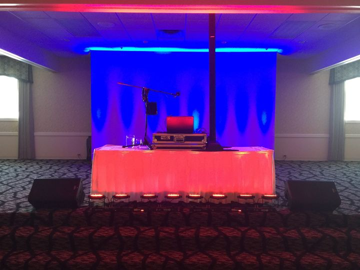 This event required front back and up lighting with multiple color effects throughout the reception.