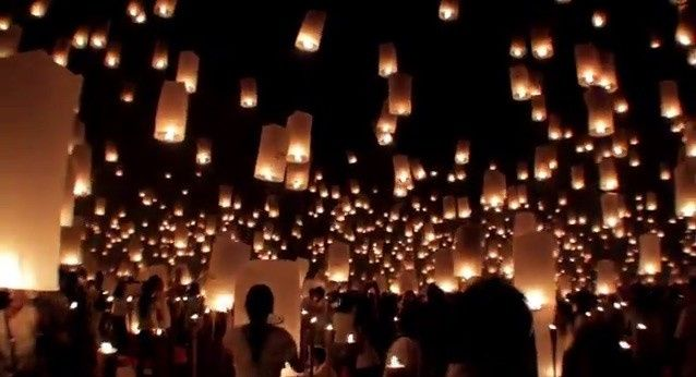 Beautiful end to an amazing romantic late summer wedding with Chinese lanterns illuminating the...