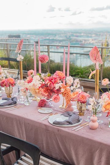 Wedding tablescape with centerpieces