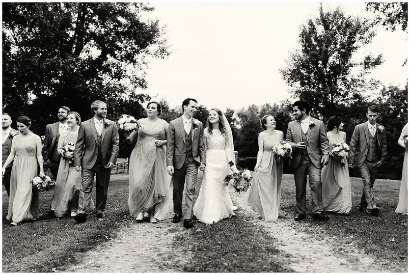 Wedding party in black and white