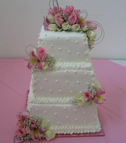 Pink Square Wedding Cake
