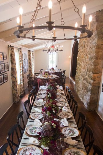 Dining space with farm table