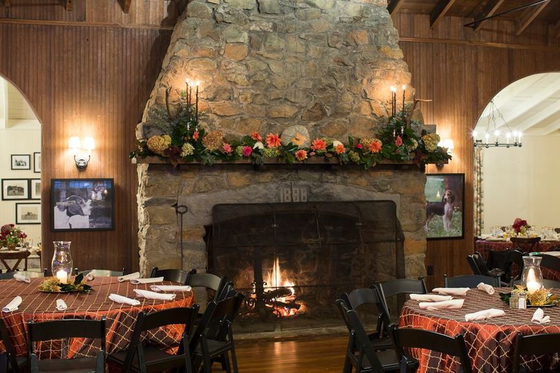 Stone fireplace in the fall