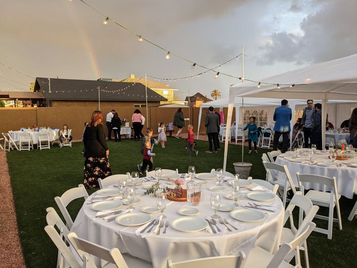 Reception with rainbow in the