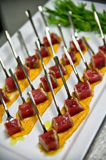 Grilled Yellow Fin Tuna, Romesco Sauce, Basil Oil