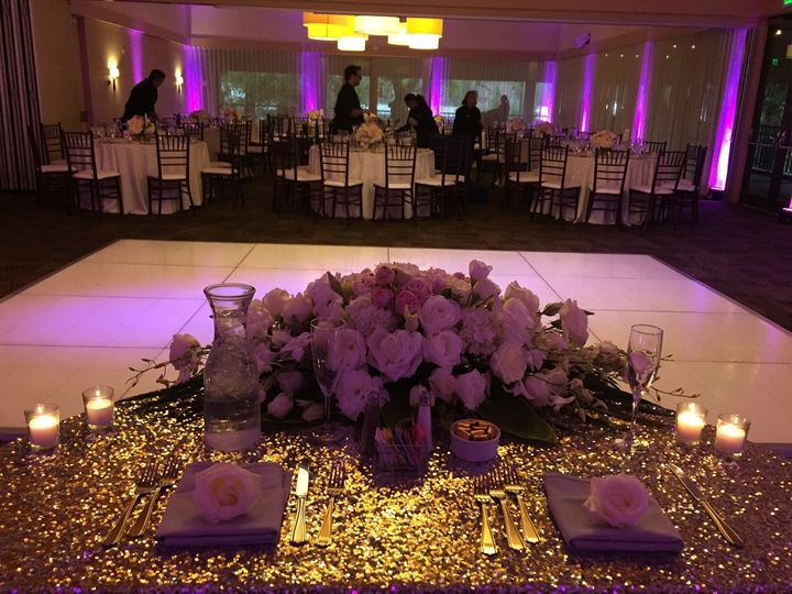 Newlyweds' table and floral centerpiece